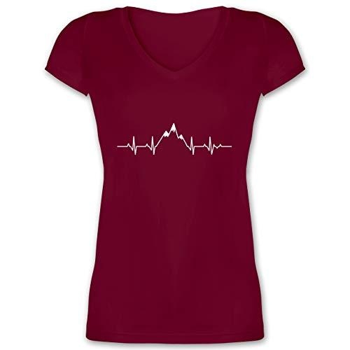 Symbole - Herzschlag Berge - M - Bordeauxrot - Herzschlag Tshirt - XO1525 - Damen T-Shirt mit V-Ausschnitt