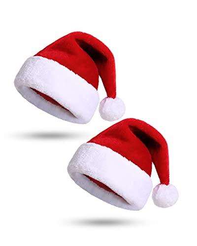 KONVINIT 2Paquete Gorro de Papá Noel Rojo Gorro de Navidad para adultos Gorro de Navidad de felpa Cálido Sombrero de santa Gorrodenavidadniño(más de 7 años)