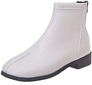 أحذية للكاحل للنساء - أحذية للكاحل محاكة بسحاب جلد PU بمقدمة مربعة للسيدات أحذية قصيرة بكعب منخفض جزمة حتى الكاحل 2020 للن...