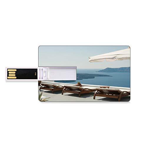 128G Unidades flash USB flash Decoración de viaje Forma de tarjeta de crédito bancaria Clave comercial U Disco de almacenamiento Memory Stick Tomar el sol con Caldera View Terrace Santorini Aegean Gre