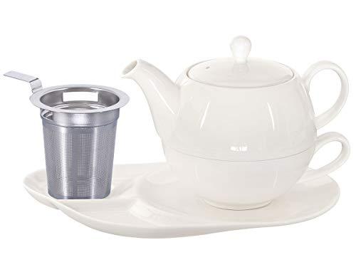 Buchensee Tea for One z sitkiem Lena 500 ml z porcelany Crystal Bone China w kolorze delikatnej kremowej bieli. Dzbanek do herbaty + filiżanka do herbaty + podstawka z półkami