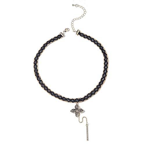Collar Collar colgante de zircon de encaje de aleación para mujeres, collar de cuello de circón tejido negro, día de la madre / día de tarjeta del día de San Valentín / regalo de cumpleaños Regalo col