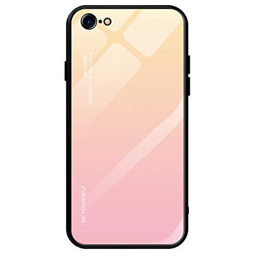 Dclbo Hülle für iPhone 6 / iPhone 6S,Handyhülle Schutzhülle Hart Plastik Glas Spiegel Case Elegant Hülle Silikon Dünn Rahmen Schale Etui Cover Handytasche für iPhone 6 / iPhone 6S-Gelb Rosa