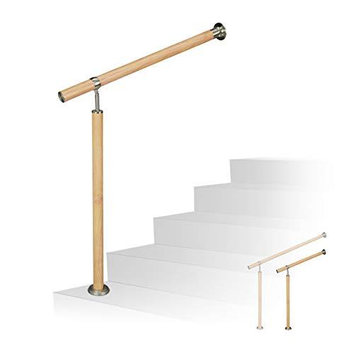 Relaxdays Treppengeländer, für innen & außen, Ø 42 mm, 90 cm hoch, Holzoptik, Aluminium & Edelstahl, 150 cm lang, braun, 1500 mm