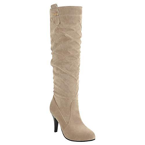 Bigtree High Heel Kniehöhe Stiefel Frauen Herbst Winter Casual Oberschenkel Höhe Stiefel Ziehen auf Stiletto Bequeme Lange Stiefel Beige