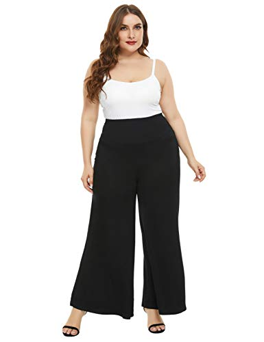 Hanna Nikole Women's Plus Size Casual Stretchy Wide Leg Palazzo Pants Black 20W