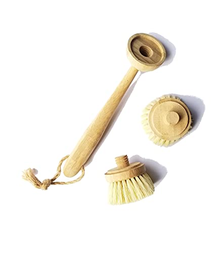 Milieco Natural Cleaning Kitchen Scrub Brush for Dish Cast Iron Skillet Pots Pans - Made of 100% Bamboo Handle and Sisal Bristles - Replacement Brush Set