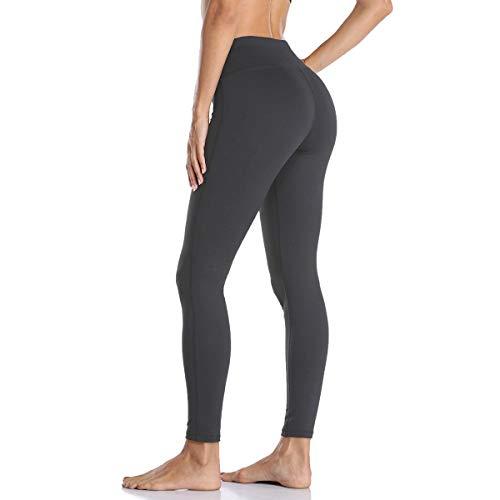 OURCAN Yoga Hosen Mit Taschen Frauen Schlanke Hohe Taille Nicht Durchsichtig Laufen Leggings Bauch Kontrolle Workout Strumpfhose (Dark Grey, M)
