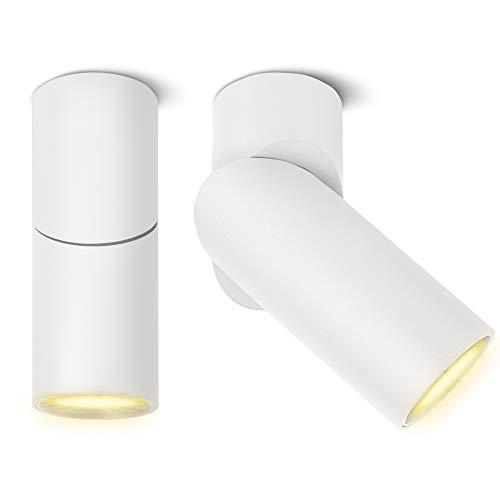 2er Set SSC-LUXon TOBI-L Strahler Aufputz 2-in-1 für Decke & Wand mit GU10 LED 6W warmweiß - Lampe Spotlight weiß schwenkbar