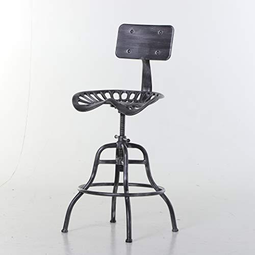 homcom Sgabello Stile Industriale in Acciaio con Schienale e Altezza Regolabile, Cucina/Bar/Ristorante, 56x56x90cm-112cm