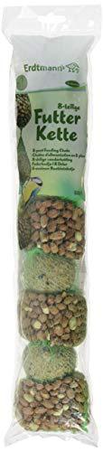 Erdtmanns - Cadena de alimentación con 4 Bolas de Grasa y 4 Redes de cacahuetos para pájaros