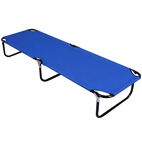 Goplus Folding Camping Cot, Portable and Lightweight Sleeping Bench Bed, Collapsible Single Person Lounge Bed Indoor & Outdoor Use, for Kids Adults Travel Hiking Fishing Hunting (Blue)