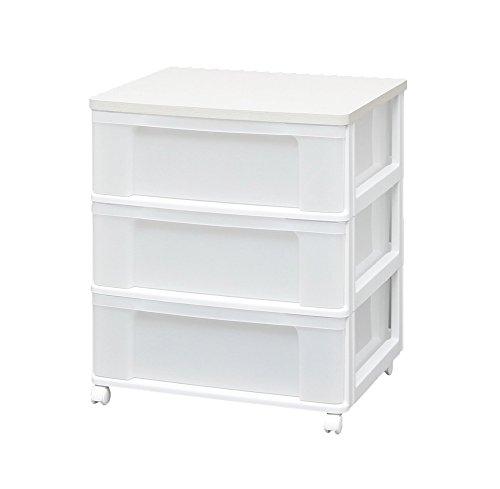 アイリスオーヤマ チェスト 木天板 3段 幅63.2cm×奥行50.7×高さ73cm ホワイト 白 プラスチック W653P
