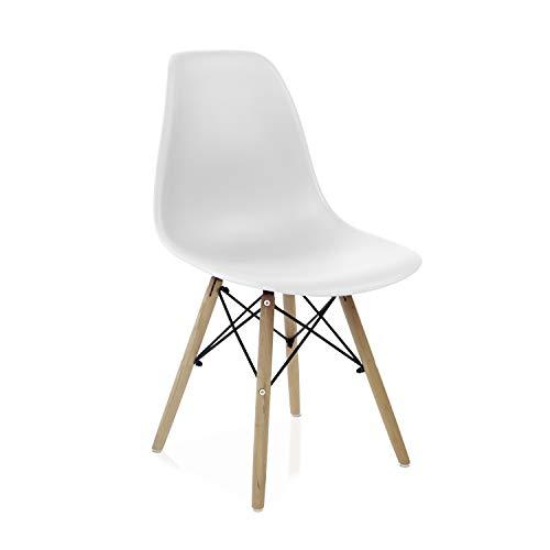 duehome (Nordik - Pack 4 sillas Color Blanco, Silla réplica Blanca y Madera de Haya, Medidas: 47 cm Ancho x 56 cm Fondo x 81 cm Altura
