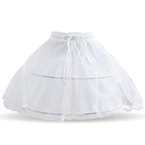 TTYAOVO Medias para niñas, Falda de Crinolina Debajo de la Falda de 2 Aros en Nupcial para niñas