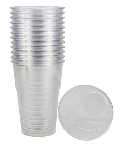 Clear Plastic Cups - 300 ml - 10 oz - 50 Disposable Cups Perfect for Ice Coffee, Juice, Bubble Tea, Milkshakes and Fruit Cups, (Lids Not Included) - Made of PET Plastic