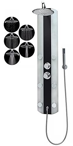 Duschpaneel mit Thermostat Eckmontage Schwarz Regendusche Dusche mit 6 Massagedüsen Wandmontage