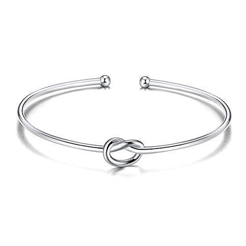 Jewanfix Pulsera de plata para mujer, diseño de nudo de amor eterno, para dama de honor, boda, regalo de joyería