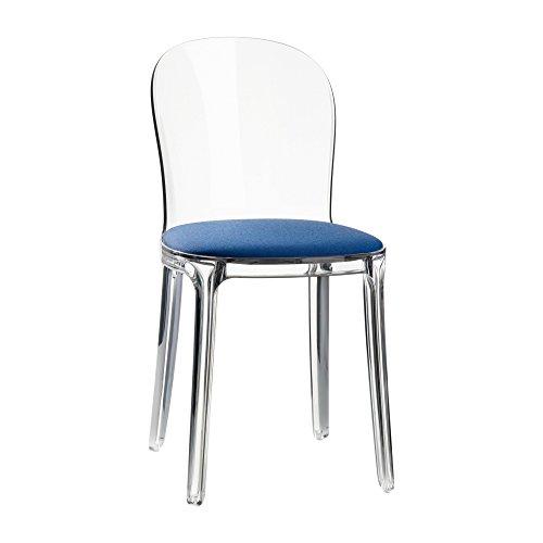Magis Vanity Chair Stuhl Transparent, transparent Stoff Kvadrat Field 762 Kissen blau mit Filzgleitern