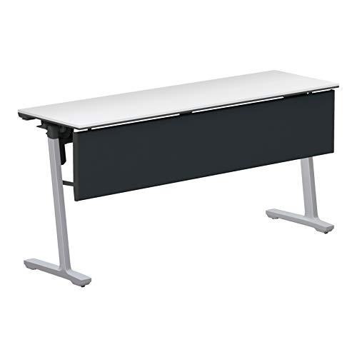 コクヨ 会議テーブル カーム KT-PJ1402P81PAWNN 天板フラップ式 樹脂パネル付き直線タイプ 電源コンセントなし棚なし フラットシルバー脚/天板ホワイト 幅150×奥行き45cm