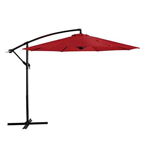 JIESSIWONG Patio Umbrella 10ft Cantilever Offset Outdoor Umbrellas Hanging Outdoor Patio Clearance with Crank & Cross Base,8 Ribs Backyard Deck Umbrella for Pool,Lawn & Garden (10ft,Red)