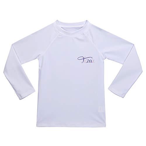 TIZAX Traje de baño con protección Solar Camiseta UV de Manga Larga para niñas Rashguard para Surf/Nadando/Buceo/Playa Blanco 110