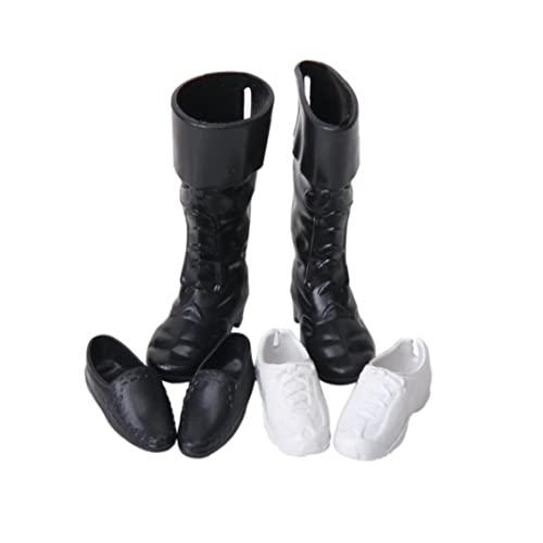 Domek dla lalek miniaturowe buty urocze mini lalka książę buty dla lalki zabawki akcesoria dom dekoracja 3 pary (czarno-białe)