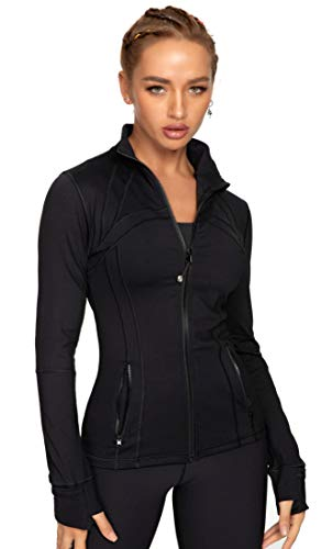QUEENIEKE Women's Running Jacket Slim Fit and Cottony-Soft Handfeel Sports Tops with Full Zip Side Pocket Size M Color Lycra Black
