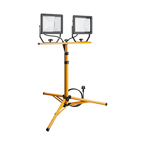 Goobay Foco LED para Obras 49984-Foco construcción telescópico (Doble Cabezal, para Uso en Interiores y Exteriores, trípode de Metal, luz Blanca fría), Negro, Amarillo, 2x 50W