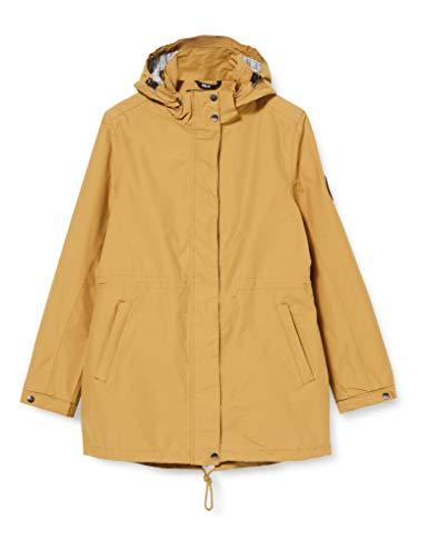 DLX Damen Sabine wasserdichte Regenjacke mit Abnehmbarer Kapuze mit Reißverschluss, Sandstein, S