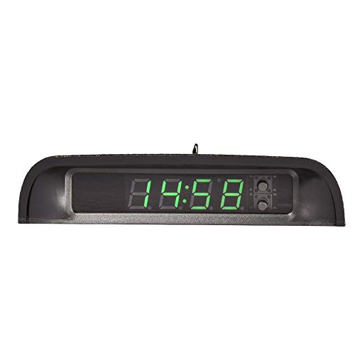 Car Clock Digital Solar Powered Car Electronic Clock Stick-On Luminous Car Clock Dashboard Auto Clock Car Watch Clock, with Adjustable Brightness, Date, Temperature