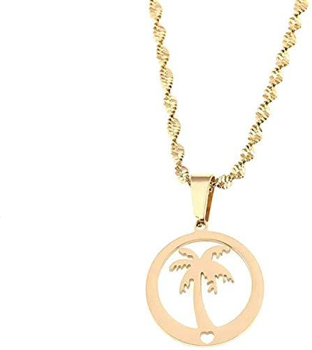 niuziyanfa Co.,ltd Stainless Steel Round Pendant Coconut Palm Tree Hawaii Beach Vocation Jewelry Gift