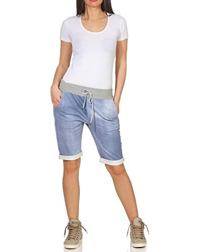 ZARMEXX Pantalones Cortos para Mujer Pantalones de Verano Boyfriend de Bermudas de Capri - Estampado Completo, Talla única