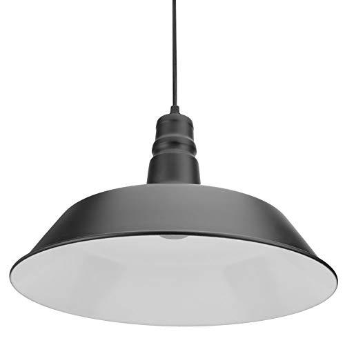JYLSYMJa Lámpara de Techo de Aluminio E27/26, lámpara de Techo LED Industrial Vintage con Pantalla de Metal y portalámparas de plástico, lámpara Colgante para cafetería de Hotel(Negro)