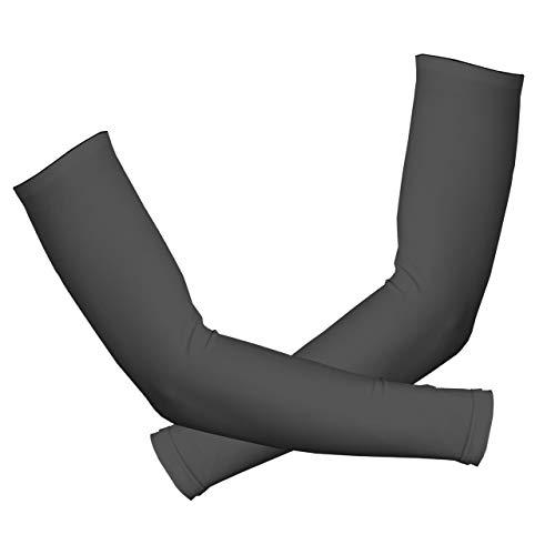 GoodsLand 【 滑り止め付き 】 UVカット アームカバー 両腕 メンズ レディース 男女兼用 腕カバー 無地 吸湿 速乾 伸縮性 スポーツ キャンプ GD-ARMCV-BK-XL