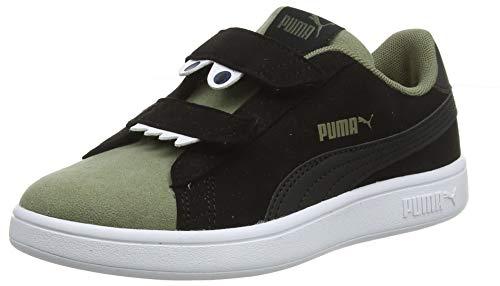 PUMA Smash v2 Monster V PS Zapatillas Unisex Niños,Negro ( Puma Black-Burnt Olive-Jaffa Orange ) , 35 EU