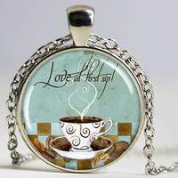 Kaffeekunst-Anhänger, Liebeskaffee-Schmuck, Kaffeetassen-Halskette, Kunstharz-Anhänger, Kaffee-Café-Art, runder Bronze-Anhänger