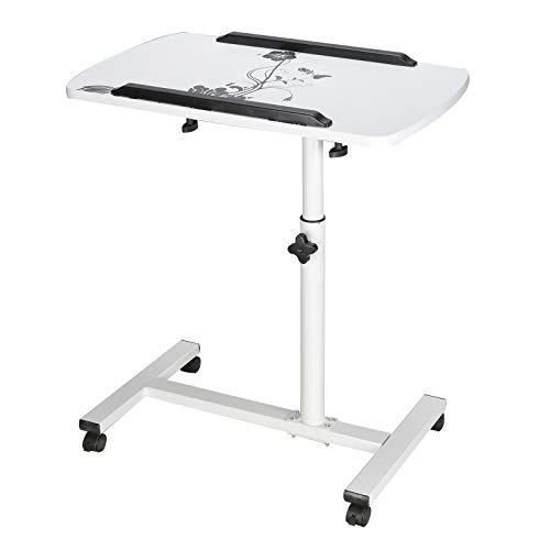 MorNon Laptoptisch Höhenverstellbar mit Rollen Betttisch Laptop höhenverstellbar Notebooktisch Pflegetisch auf Rollen Höhenverstellbar Weiß