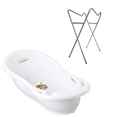 Tega Baby ® baignoire ergonomique 86cm SET 3 picces avec cadre pliant + tuyau d'évacuation de l'eau avec bouchon et thermomctre baignoire bébé 0-12 mois, Motif: Cerf - blanc, Stand: Argent