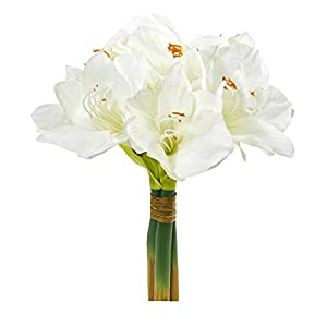 """Nearly Natural 14"""" Amaryllis Bouquet Artificial (Set of 3) Silk Flowers, White"""