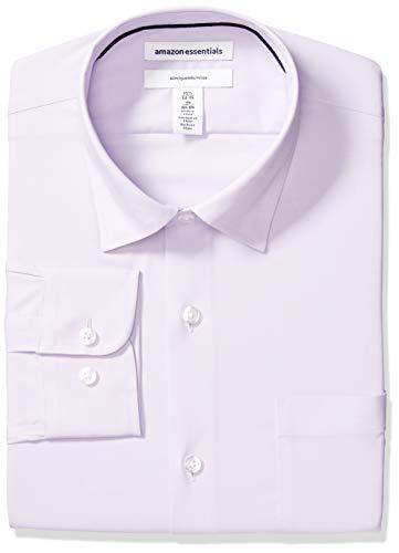 Amazon Essentials Men's Slim-Fit Wrinkle-Resistant Stretch Dress Shirt, Lavendar, 15.5