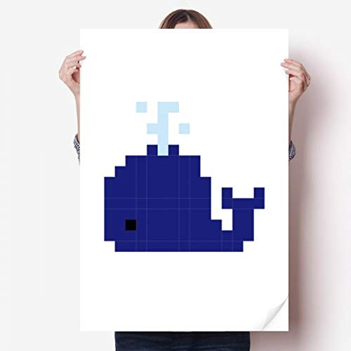 DIYthinker Zomerzeil Blauwe Walvis Pixel Vinyl Muursticker Poster Fotobehang Kamer Decal 80X55Cm