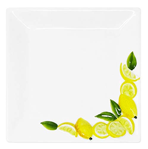 Lashuma Quadratische Servierplatte aus Italienischer Keramik, Vorspeisen Platte eckig Zitronendesign, Servierteller 19 x 19 cm