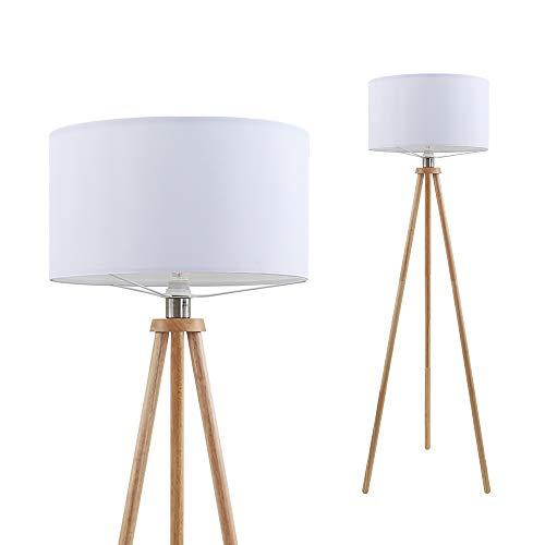Briloner Leuchten Stehleuchte, Wohnzimmerlampe, Stoffschirm in weiß, E27, inkl. Schnurschalter, Holz, 60 W, 455x1.48mm (DxH)