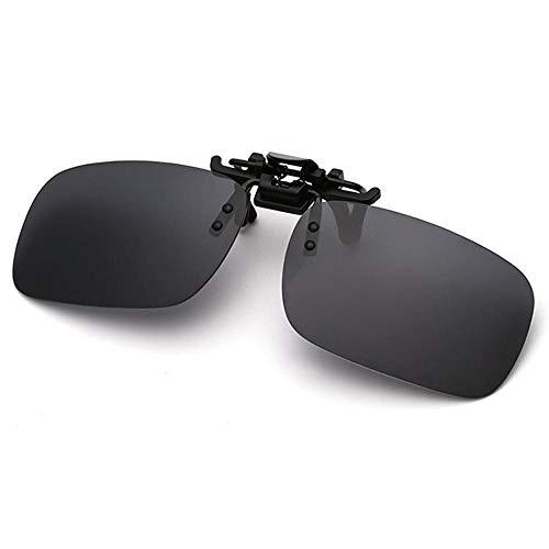 Polarisierte randlose Gläser AOLVO Metall Flip up Clip on Sunglasses Leicht Gewichts Außen Fahren Angeln Sonnenbrillen für Männer und Frauen Unisex Brillenträger (schwarz)
