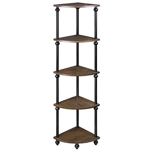Vintage Corner Table Shelf, 5-Tier Corner Bookcase, Plant Stand Storage Rack for Living Room, Home Office, Dark Walnut