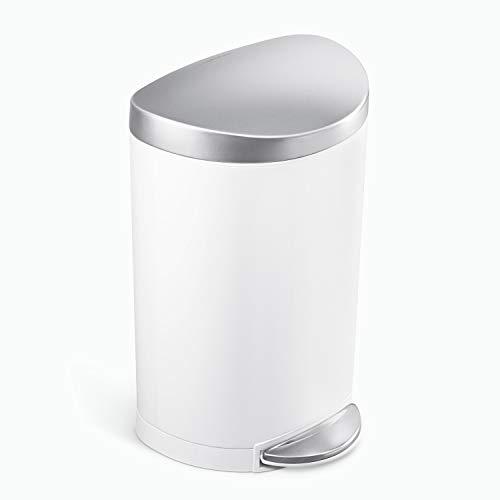 simplehuman Semi-Round Bathroom Step Trash Can, 6 Liter, White Steel