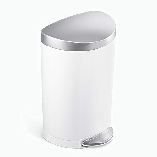 simplehuman 6 Liter / 1.6 Gallon Semi-Round Bathroom Step Trash Can, White Steel