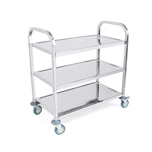 Nuokix Multilayer 3-Layer Stainless Steel Kitchen Service Cart for Hotel, Catering, Restaurant Tool Cart-75 X 40 X 83.5CM