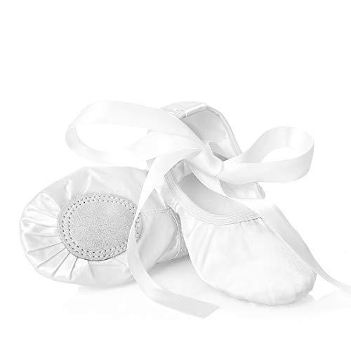 Ballettschuhe Mädchen Tanzschuhe ballettschläppchen Damen bequem Spitzenschuhe Kinder mit Band Weiß 37